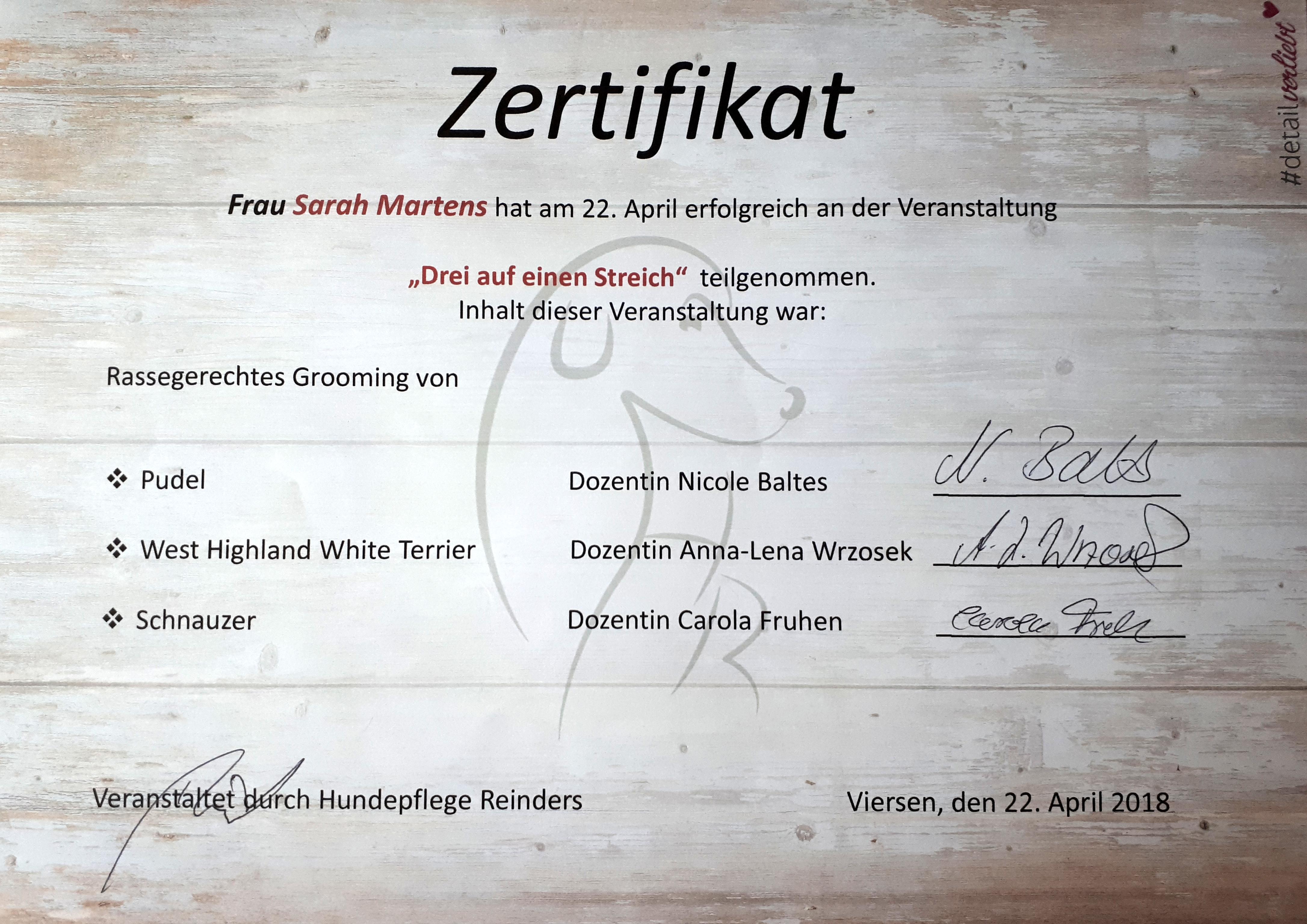"""Zertifikat """"Drei auf einen Streich"""""""